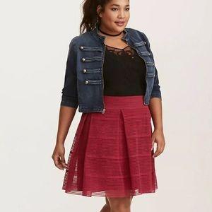 Torrid Skirt Stripe Sheer Flared Skirt Velvet Rose